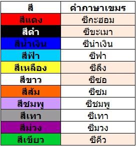 สี ภาษาเขมร